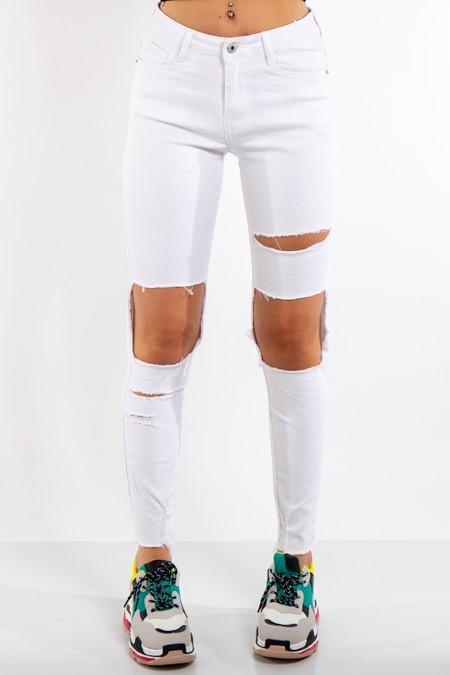 White Denim Ripped High Waist Jeans