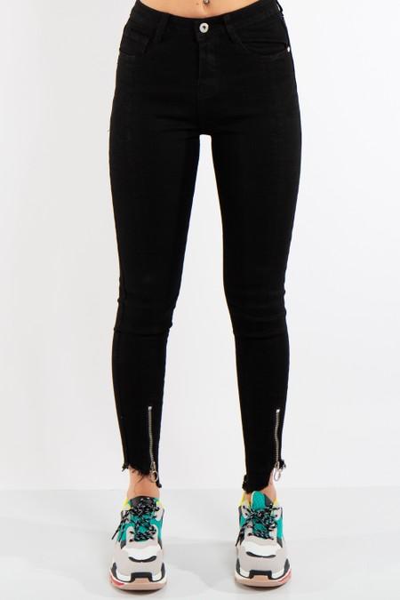 Black Denim Zip Hem Skinny Jeans