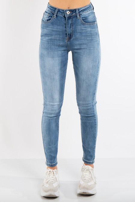Blue Mid-Wash Denim High Waist Jeans