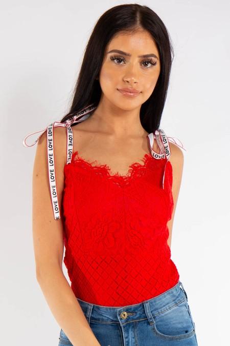 Red Floral Lace Love Strap Bodysuit