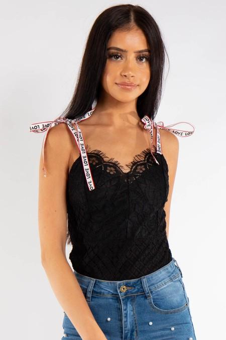 Black Floral Lace Love Strap Bodysuit