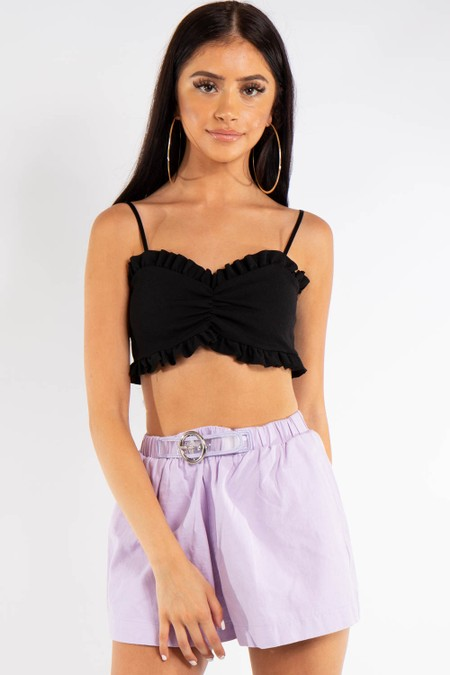 Lilac Denim Belt Detail Shorts