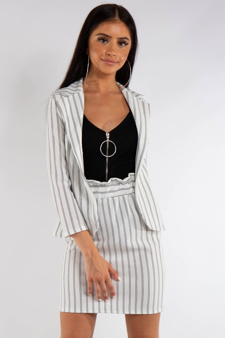 White Pinstripe Suit Skirt