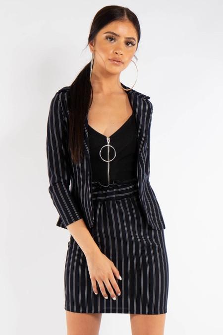 Black Pinstripe Suit Skirt