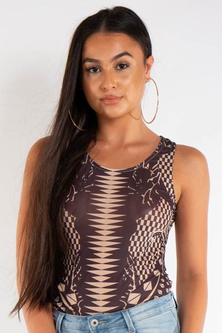 Tan Mesh Printed Bodysuit