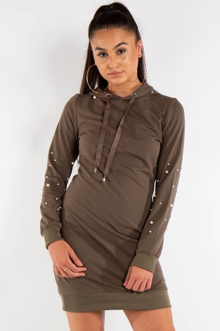 Khaki Pearl Detail Hooded Jumper Dress
