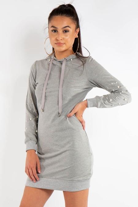 Grey Pearl Detail Hooded Jumper Dress