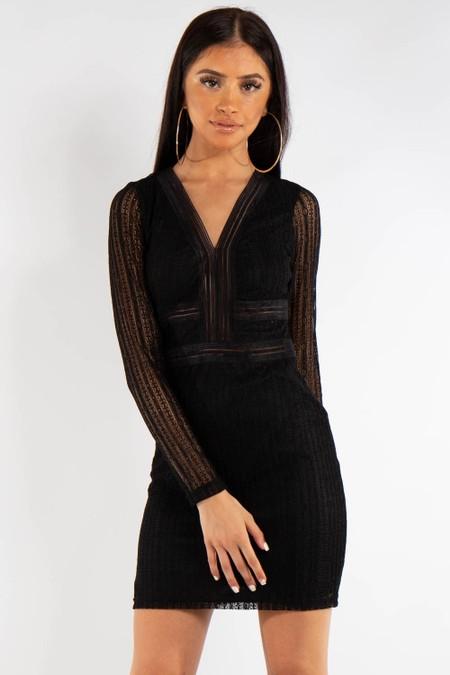 Black Lace long Sleeve V Front Dress