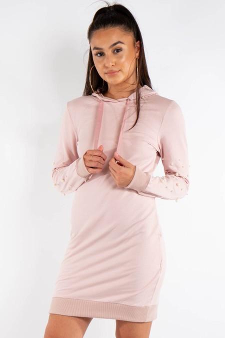 Pink Pearl Detail Hooded Jumper Dress