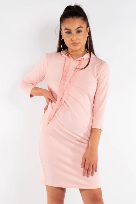 Long Pink Hoody Jumper Dress