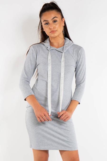 Long Grey Hoody Jumper Dress
