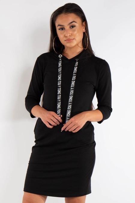 Long Black Hoody Jumper Dress