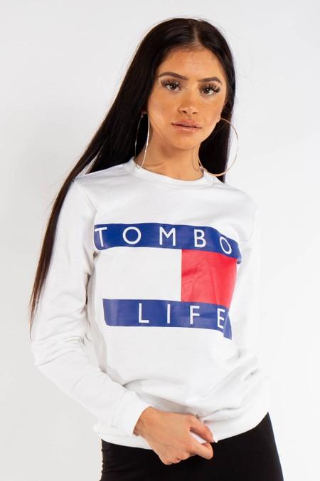 White Tomboy Slogan Sweatshirt