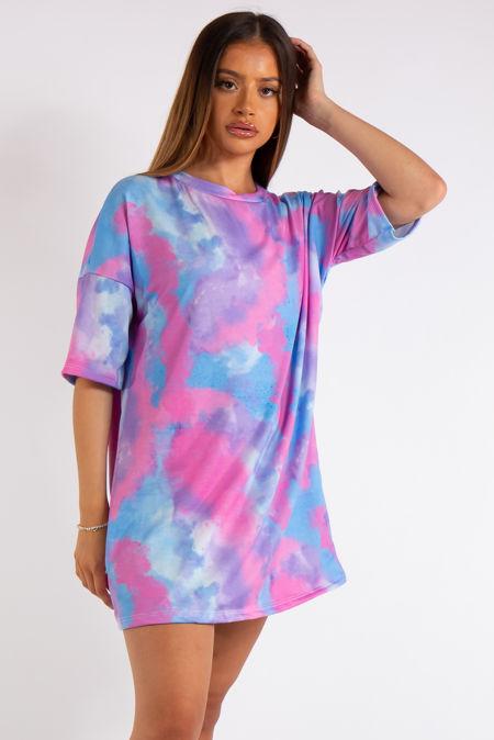Lea Blue Tie Dye T-Shirt Dress