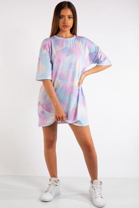 Lea Pink Tie Dye T-Shirt Dress