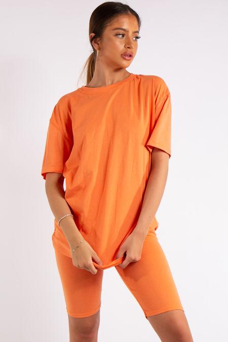 Sky Orange Oversized T-Shirt & Cycling Shorts Co-ord