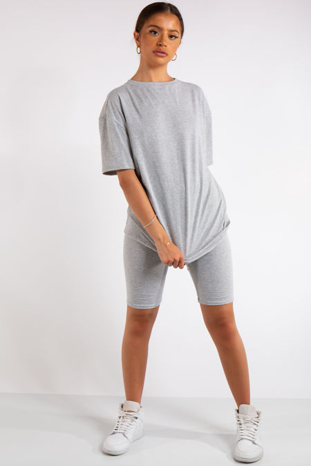 Sky Grey Oversized T-Shirt & Cycling Shorts Co-ord