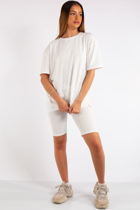 Sky White Oversized T-Shirt & Cycling Shorts Co-ord