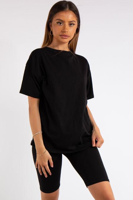 Sky Black Oversized T-Shirt & Cycling Shorts Co-ord