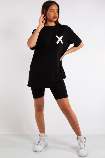 Miah Black X Slogan Oversized T-Shirt