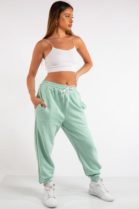 Tenley Mint Green Plain Jogger Pants