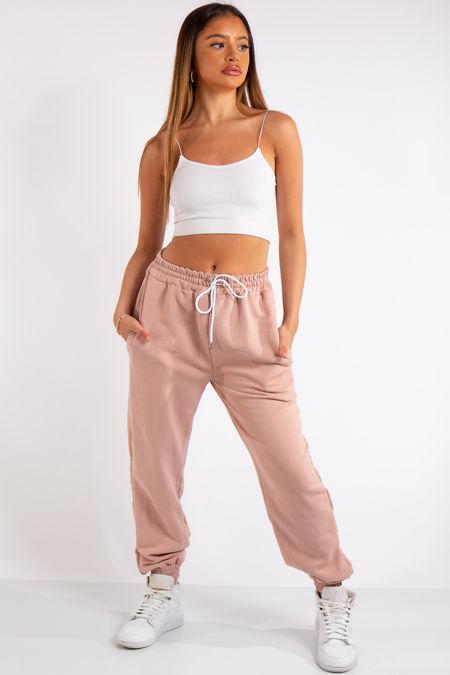 Tenley Pink Plain Jogger Pants