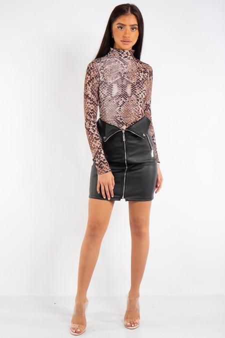Madeline Black PU Zip Detail Biker Mini Skirt