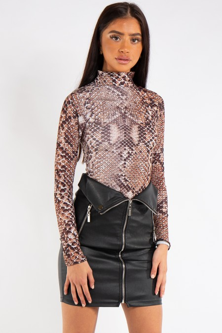 Mia Snake Print High Neck Bodysuit