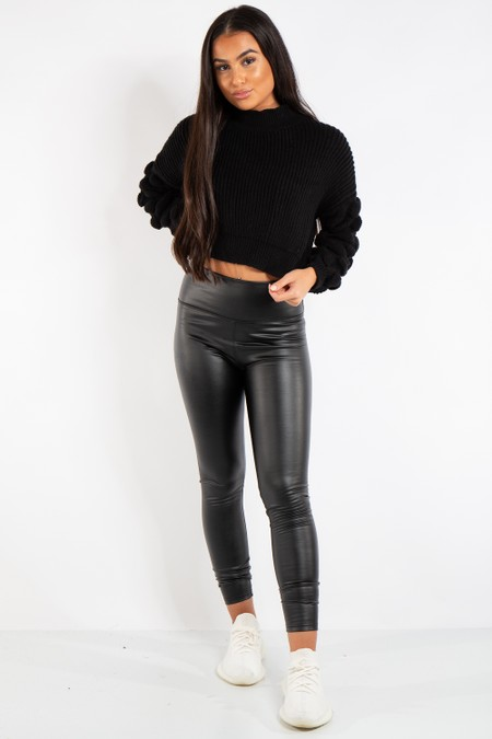 Lillian Knit Black Ribbed Bobble Stitch Knitted Jumper