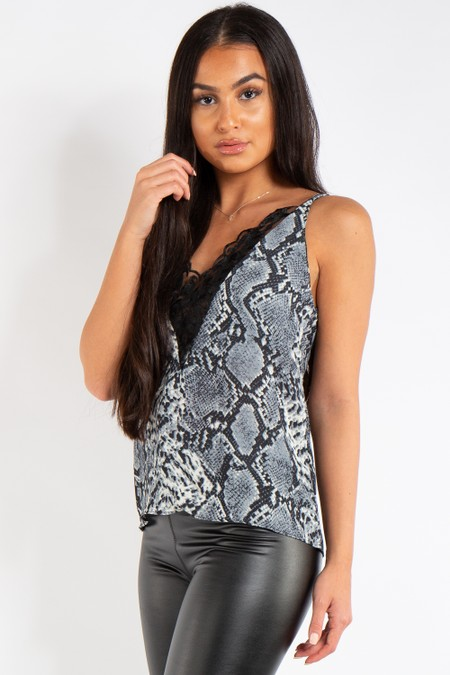 Claire Black Snake Print Lace Longline Cami Top