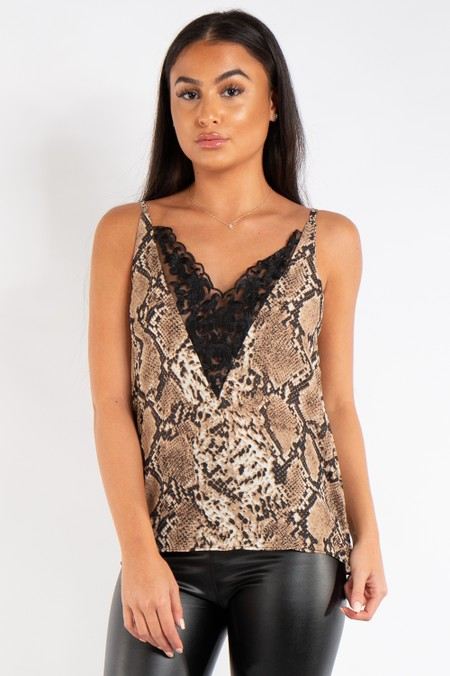 Claire Snake Print Lace Longline Cami Top