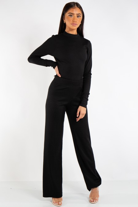 Hannah Black Ribbed Open Tie Back Top