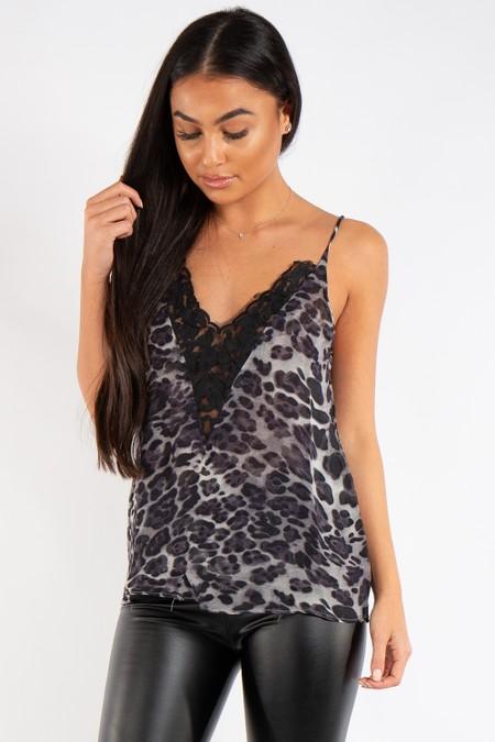 Claire Black Leopard Print Lace Longline Cami Top