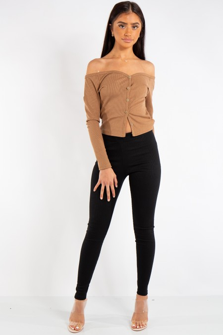 Isabelle Black Ribbed Skinny Trousers