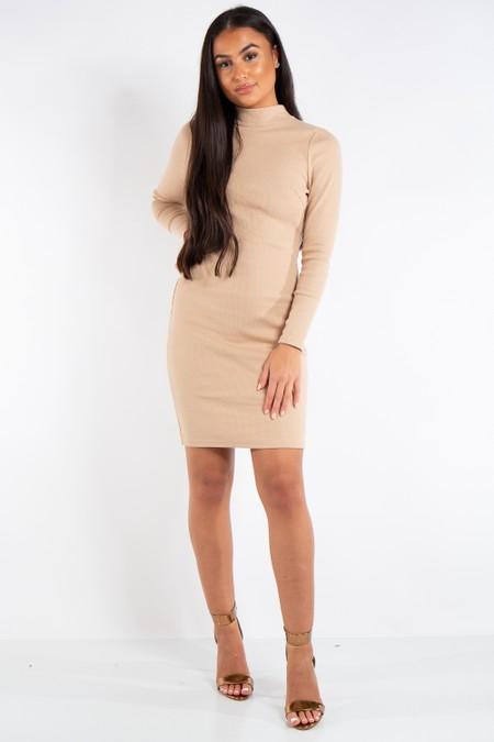 Clara Beige Ribbed Open Back Mini Dress