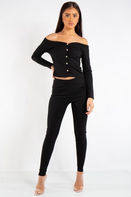 Maria Black Ribbed Button Bardot Top