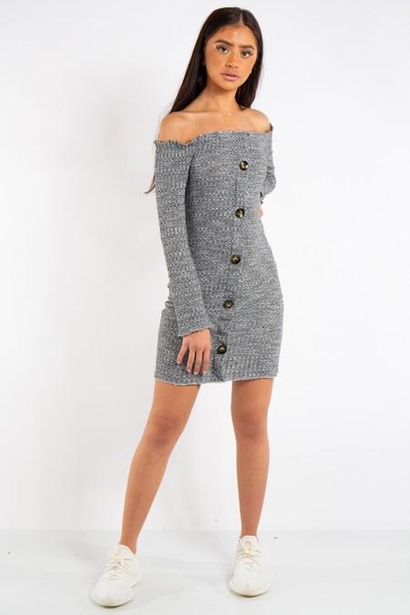 Isabella Grey Bardot Button Mini Dress