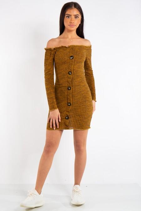 Isabella Mustard Bardot Button Mini Dress