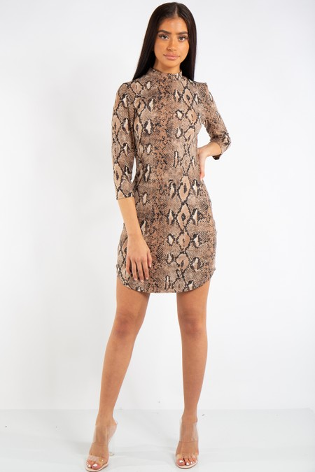 Vivian Snake Print High Neck Dress