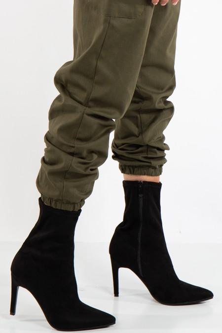 Gabriela Black Faux Suede Stiletto Heel Boots