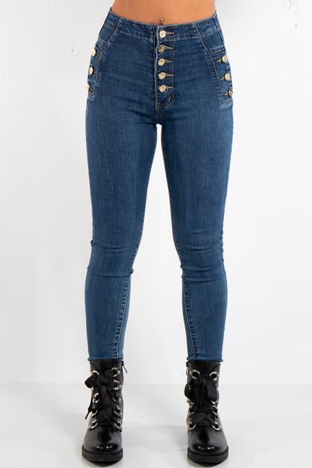 Hadley Blue Denim Button Up High Waist Jean