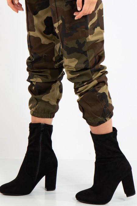 Leia Black Faux Suede Block Heel Boots
