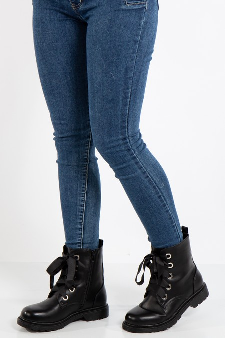 Thea Black Ribbon Lace Ankle Boots