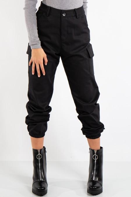 Cherry Black Cuffed Cargo Pants