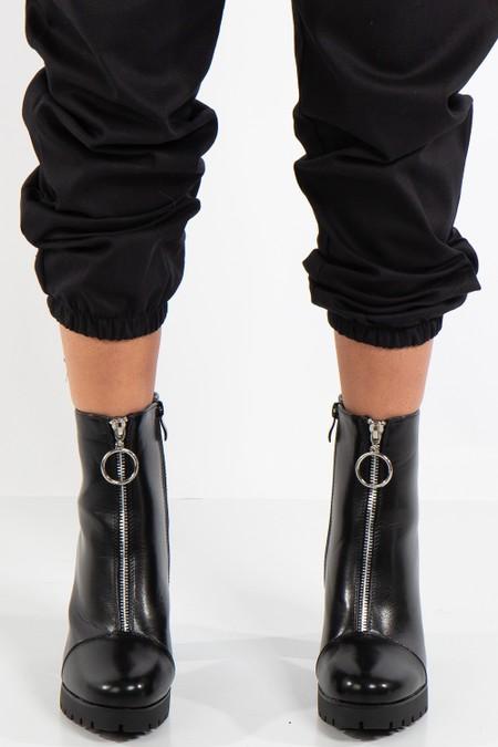 Amina Black High Shine Zip Detail Block Heeled Ankle Boots