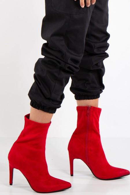 Gabriela Red Faux Suede Stiletto Heel Boots