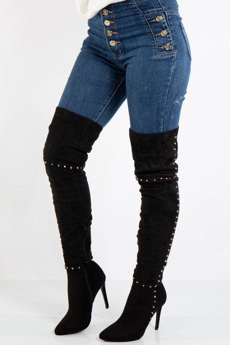 Ruth Black Faux Suede Thigh High Stiletto Stud Boots