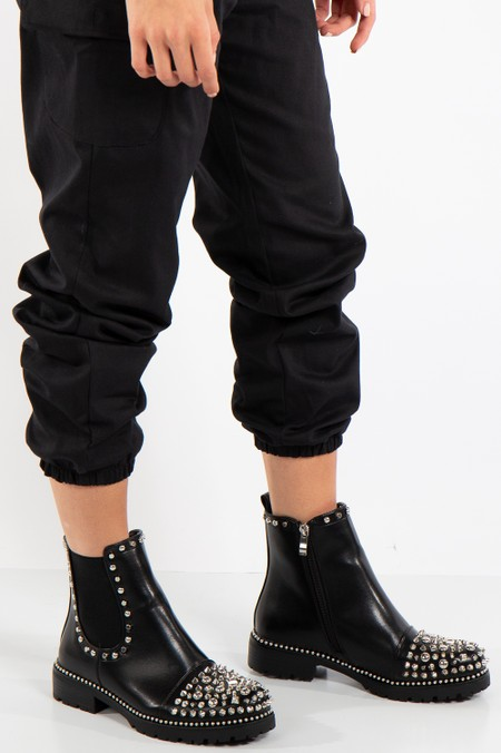 Havva Black Faux Leather Spiked Studded Boots