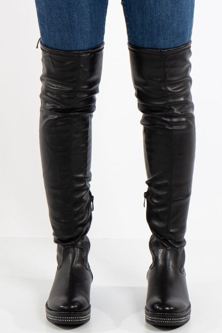 Charlee Black Faux Leather Knee High Boot With Diamante