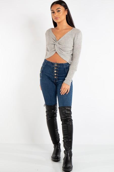 Alexandra Grey Twist Front Soft Crop Knitted Jumper